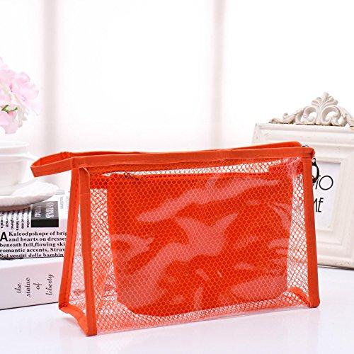 Wasserdicht PVC Kosmetische Taschen Zweiteiliger A Wasserdicht PVC Kosmetische Taschen Zweiteiliger Anzug Net Reise Makeup Transparente Tasche Transparente Kosmetiktasche (Color : Orange)