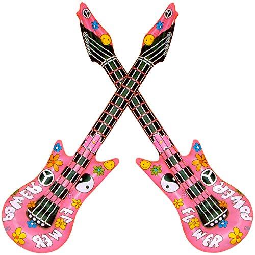Spassprofi 2 Flower Power Luftgitarre aufblasbare Gitarre Musikinstrument 70er Jahre