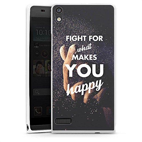 DeinDesign Cover kompatibel mit Huawei Ascend P6 Hülle Silikon Hülle Schutz Glück Motivation Leben