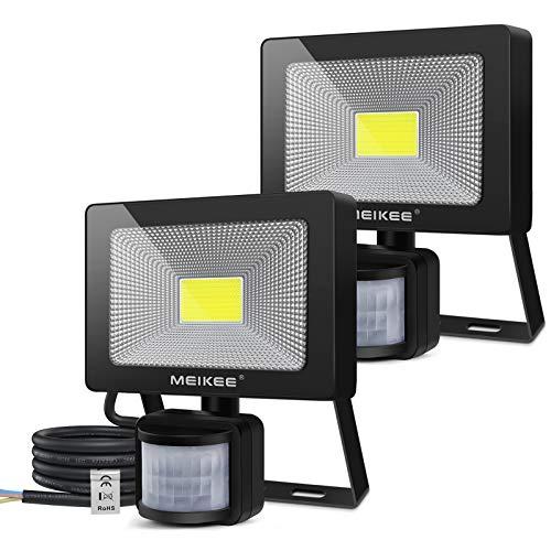 MEIKEE Foco LED de 20 W con detector de movimiento, 2000 lm, superbrillante, IP66, resistente al agua, para exteriores, lámpara de pared para jardín, garaje, gimnasio, patio, 2 unidades