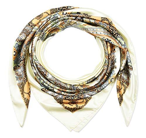 Large Square Satin Silk Like Lightweight Scarfs Hair Sleeping Wraps for Women Off White Totem Pattern