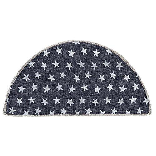 VHC Brands Multi Star Navy Rug, Half Circle 16.5x33