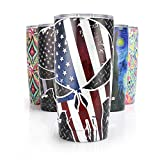Pandaria 20 oz Stainless Steel Vacuum Insulated Tumbler with Lid - Double Wall Travel Mug Water Coffee Cup for Ice Drink & Hot Beverage, Punisher Skull