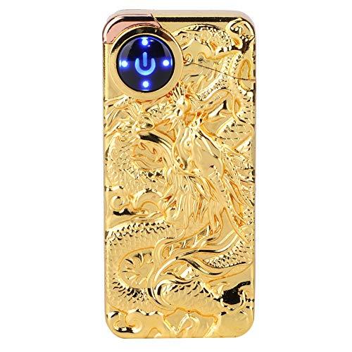 Weiyiroty Elektrisches Feuerzeug, wiederaufladbares USB-Doppelbogenfeuerzeug, modisches, stilvolles, tragbares, berührungsempfindliches Impulsfeuerzeug(Gold)
