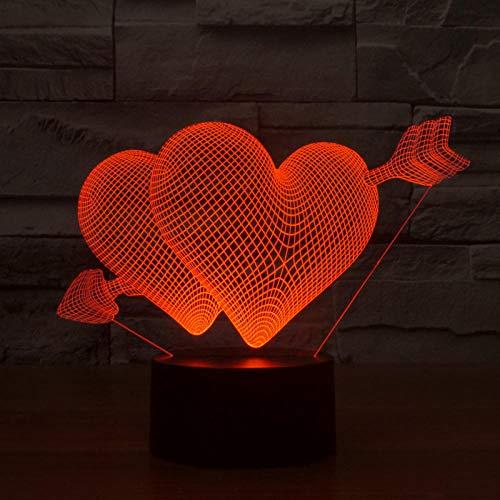 Een pijl door de helling slaapkamer-sfeerlampenbruiloftskamer-tafellamp van hart-nachtlamp-vrouwelijke stekker kleurrijk, om een cadeau te sturen aan een vriendin