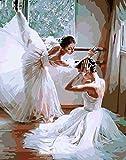 YEESAM ART Neuerscheinungen Malen nach Zahlen für Erwachsene Kinder - tänzerin Ballett Ballerina 16 * 20 Zoll Leinen Segeltuch - DIY ölgemälde ölfarben Weihnachten Geschenke (Ballerina,...