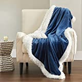 Bedsure Sherpa Fleece Throw Blanket - Winter Warm Plush Thermal Blanket, Thick Cozy Soft Throw Blanket Herringbone, Fluffy Sherpa Throw Blanket for Couch, Navy Throw Blanket (50x60 Inches)