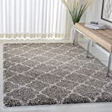 SAFAVIEH Hudson Shag Collection SGH282B Moroccan Trellis Non-Shedding Living Room Bedroom Dining Room Entryway Plush 2-inch Thick Area Rug, 4' x 6', Grey / Ivory