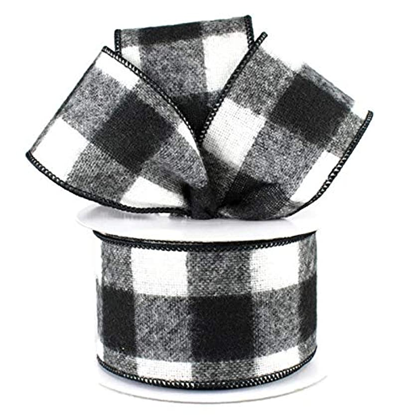 Fuzzy Large Check Plaid Wired Edge Ribbon, 2.5