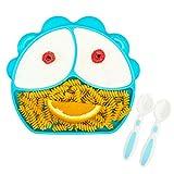 Pandasia - Kinderteller mit Saugnapf - inkl. Deckel und Babybesteck frei von BPA und PVC - Kinderteller Rutschfest