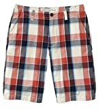 Aeropostale Mens Longer Length Casual Flat Front Plaid Shorts White Navy Red 27