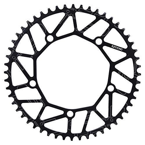 VGEBY Plato de Bicicleta, Dientes positivos y Negativos al Aire Libre Plato de manivela 130BCD Plato de Bicicleta de una Sola Velocidad 50 52 54 56 58T(52T)
