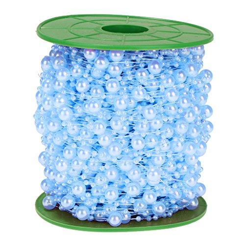 FLAMEER 60m/Rolle Perlenkette Perlenschnur Perlengirlande Hochzeit Tischdeko Brautstraus Perlenband DIY Handwerk - Blau