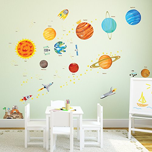 DECOWALL DA-1501 The Solar System Kids Wall Stickers Wall Decals Peel and Stick Removable Wall Stickers for Kids Nursery Bedroom Living Room (Large) décor