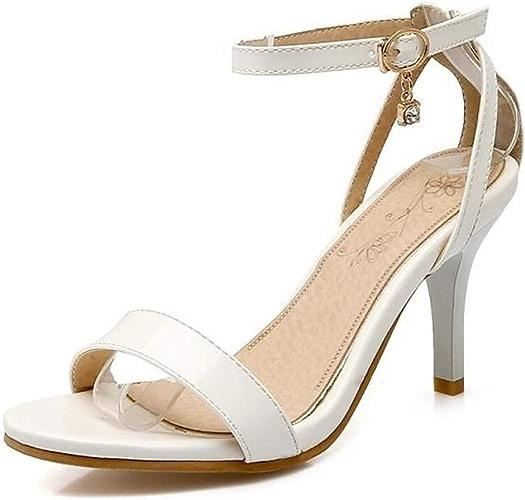 Sandales d'été en polyuréthane Doux minimalisme pour Femmes à Talon Aiguille et Bout Ouvert, Blanc Beige Rose
