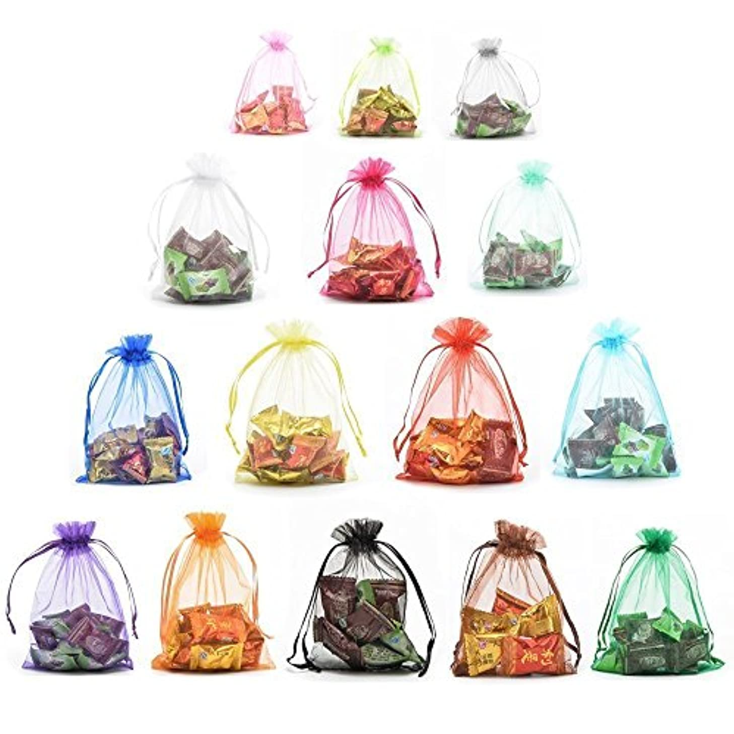 Akak Store 100pc 13 x 18 Cm /5 x 7 Inches Beautiful Transparent Mix 10 Colors Organza Drawstring Pouches Candy Jewelry Party Wedding Favor Gift Bags Pouch Bags
