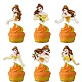 Glitter Beauty and the Beast Inspired Cupcake Topper, Princess Belle Theme Birthday Party Suppliers, Disney Princess Belle Cupcake Decoration, Girls Princess Party Favor