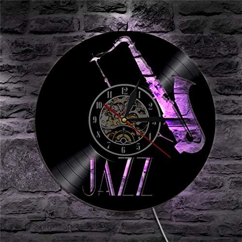 TIANZly Jazz Vinyl Schallplatte Wanduhr Musikinstrument führte von hinten beleuchtete Moderne Retro Wandkunst Wanduhr