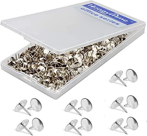 HongyiTime 400 PCS Push Pins,Thumb Tacks, Wall Tacks, Tacks, Push Pin,Thumbtack, Flat Push Pins, Thumbtacks Flat, Push Pins for Cork Board, Push Pins for Wall, Board Pins,Tacks and Push Pins (Silver)