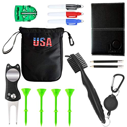 Golf Waffle Towel Ball Liner Brush And Groove Cleaner Pouch Gift Set Accessories, Scorecard Holder With 2 Pencil Divot Repair Tool With Ball Marker Cup Tees, For Men Women (6 Pack Golf Gifts Set)