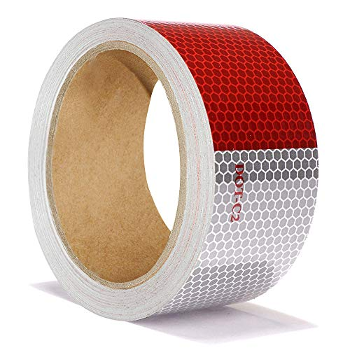 5cm x 10m Reflektierendes Band, ONTWIE Auto Reflektierendes Sicherheitsband Warnklebeband Aufkleber Rot Weiß für Anhänger - Reflektierende Warnhinweis-Aufklebebandaufkleber Hohe Intensität Wasserdicht