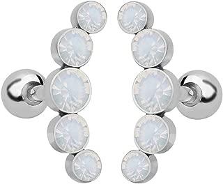 Baoblaze 1Pair Stainless Steel Ear Tragus Ear Stud Piercing Jewelry