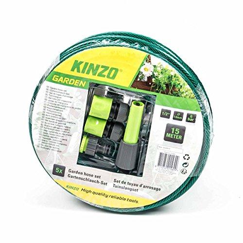 Kinzo Gartenschlauch Set mit Anschluss-Adapter und Spritzdüse, 3-lagig, Stärke 1/2