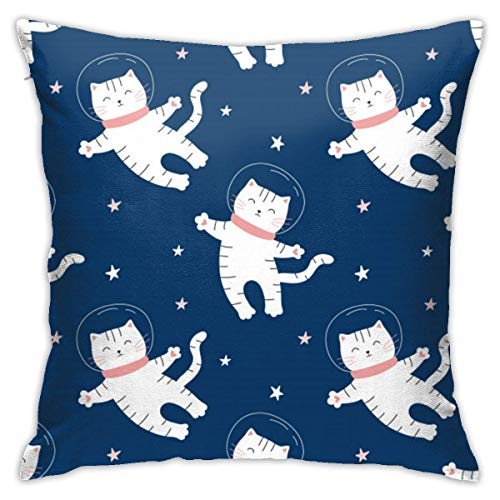N/Q Polyester Throw Pillow Case Cushion Cover A Cute White Cat Flies in Space Sofa Home Decorative (18x18 inch)