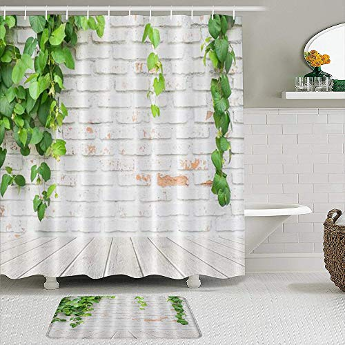 AXEDENRRT Fabric Shower Curtain and Mats Set,Rustic Brick Wall Green Leaves Summer Country Garden Plant Tree Leaf,Water Repellent Bath Curtains with 12 Hooks,Non Slip Rugs