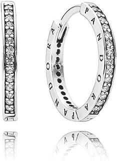 b824aaf77 PANDORA 290558CZ Sterling Silver Signature Hoop Earrings (18mm)