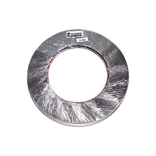 15 M Tira de Moldura de Ventana de Coche Decoración de Plata Cromada Cinta de Tira De Moldura PVC Universal Tira Anticolisión DIY Etiqueta de Recorte de Carrocería (6 mm * 15 m)
