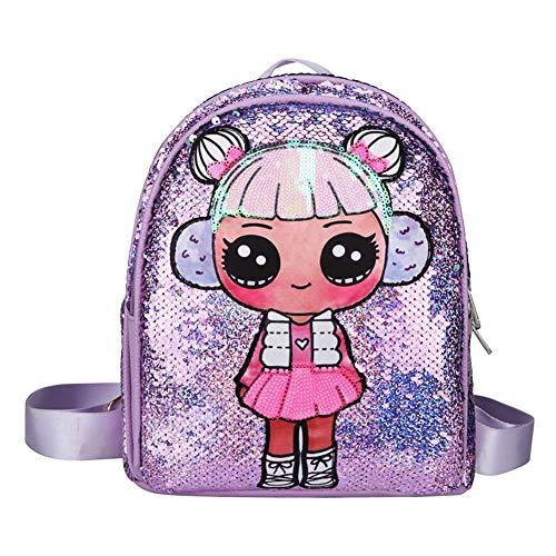 Zaino scuola per bambina con paillettes, viola, con doppia cerniera, zainetto glitter Cartoon, 29 * 25 * 4.5cm