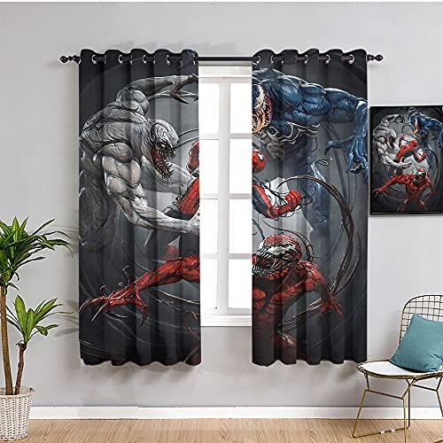 Badkamer privacy gordijnen Print Spiderman Venom Cool Web Weven Canvas Art Muur Poster Verduisteringsgordijn slaapkamer venster 100 x96