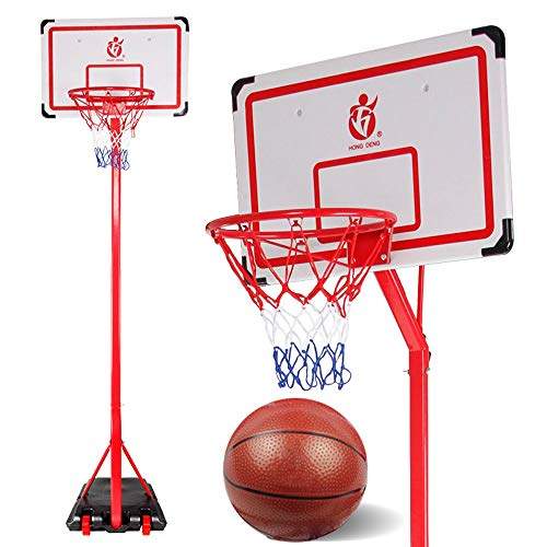 URVP Portable Basketball System Steel Pole Hoop for Wall 2.5m Stand Standard Outdoor Large Play Toy Interest Sport Games with Backboard and Wheels Boys Girls Children Best Gift (Red)