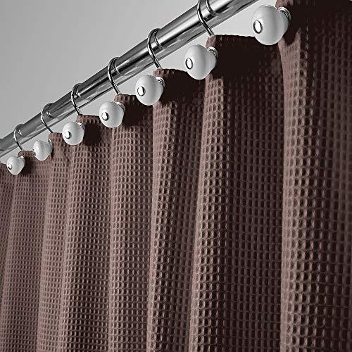mDesign Luxus Duschvorhang – weicher Badewannenvorhang mit Waffelmuster – leicht zu pflegener Duschvorhang – Dunkelbraun