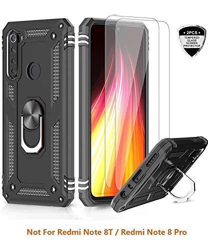 LeYi für Xiaomi Redmi Note 8 Hülle mit Panzerglas Schutzfolie(2 Stück),360 Grad Ring Halter Handy Hüllen Cover Magnetische Bumper Schutzhülle für Case Xiaomi Redmi Note 8 Handyhülle Schwarz