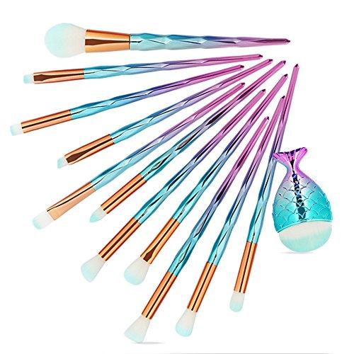 Yesmile Pinceaux De Maquillage 12Pcs Make Up Fondation Sourcils Eyeliner Fard à Joues CosméTiques Correcteur Pinceaux Maquillage Brosses (A,