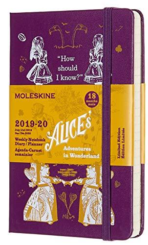Moleskine Agenda Settimanale Tascabile, 18 Mesi Alice in Wonderland in Edizione Limitata, Diario Accademico 2019/2020 con Copertina Rigida, Dimensione 9 x 14 cm, 208 Pagine, Colore Viola