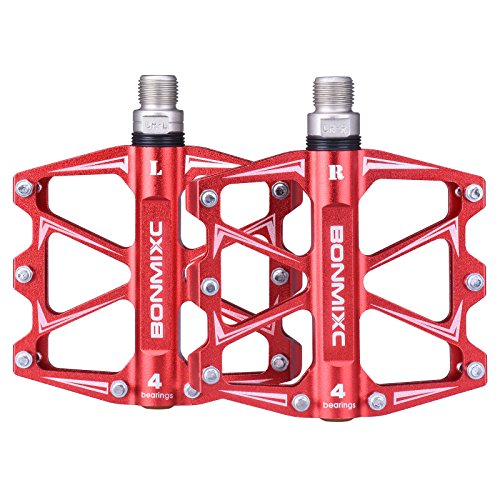 BONMIXC Mountain Bike Pedals 9/16' Lightweight MTB Pedals Sealed Bearing Bicycle Pedals Red