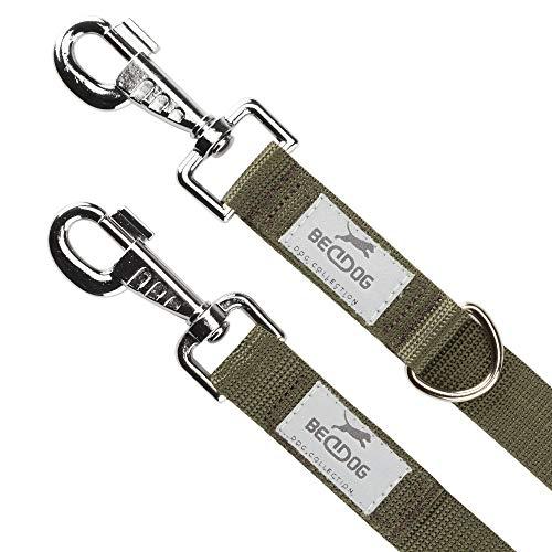 BedDog® Hundeleine Willy, verstellbar in 3 Längen, Doppel-Leine, Führ-Leine, Lauf-Leine, mittel-große und große Hunde, Gesamtlänge 2m - Khaki