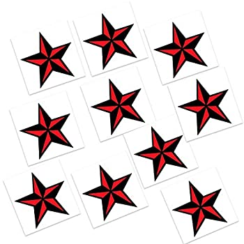 Nautical Star - Small Temporary Tattoos  10-Pack  | Skin Safe | MADE IN THE USA| Removable