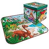 Hunpta@ Tragbare Kinderspielmatte Dinosaurier Krabbeldecke und Aufbewahrungsbox Babyspielmatte Spielzeug, Kinderpuzzle Übungsspielmatte mit ineinandergreifenden EVA-Schaumfliesen72x72cm (A)