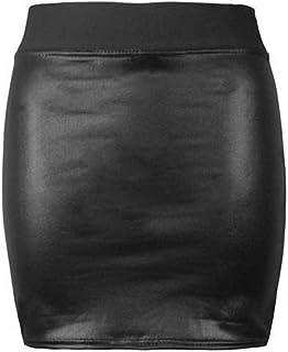 TrendyFashion Womens PU PVC natte look lederen bodycon jurk dames tuniek top uitlopende rok legging