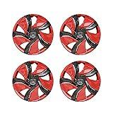 SEHNL 4 stücke Auto Styling Cover Hubcap Radkappen Auto Fahrzeug Rad Felge Hautkappen Für 15 Zoll Auto Rad (Color : Rot)
