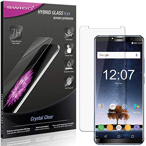 SWIDO Panzerglas Schutzfolie kompatibel mit Oukitel K6 Bildschirmschutz-Folie & Glas = biegsames HYBRIDGLAS, splitterfrei, Anti-Fingerprint KLAR - HD-Clear