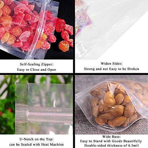 SumDirect Clear Zipper Resealable Stand Up Drink Bags Pouches,Snack Packing Bags for Food Snack Tea and Drinking, 4.3x6.7 Inches,6.8oz,200ml,Pack of 100