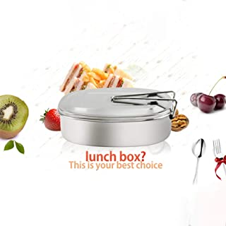 ETbotu Stainless Steel Single-Layer Lunch Box with Handle Food Container Bento Box for Adults Students Supplies