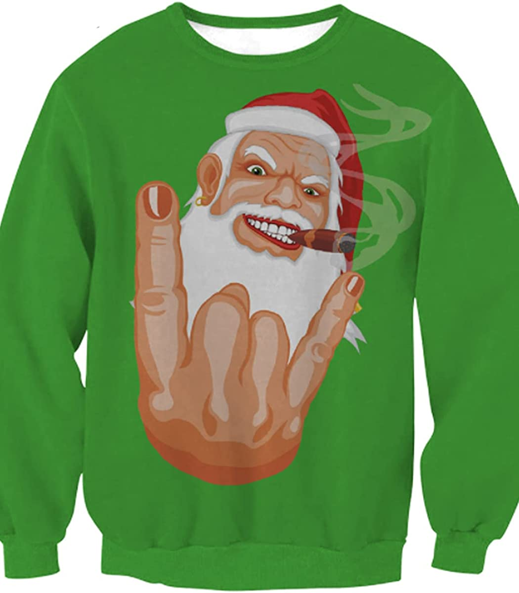 SENDEREAL Unisex Graphic Ugly Christmas Sweater 3D Printing Round Neck Long Sleeve Pullover Sweatshirt