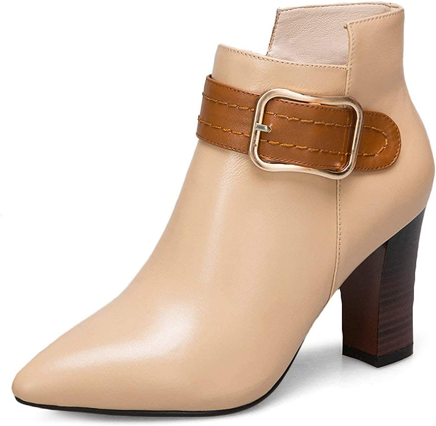 AnMengXinLing Block High Heel Ankle Boot Women Buckle Strap Pointed Toe Genuine Leather Winter Pumps Party Dress Evening shoes Size