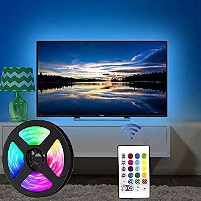 USB TV LED Backlight Length 7.87ft /2.5M Suitable for 40-65 feet hd TV, 24 Keys Infrared Remote Control can Remote Control LED Strip Light, RGB 5050 Light with 16 Colors